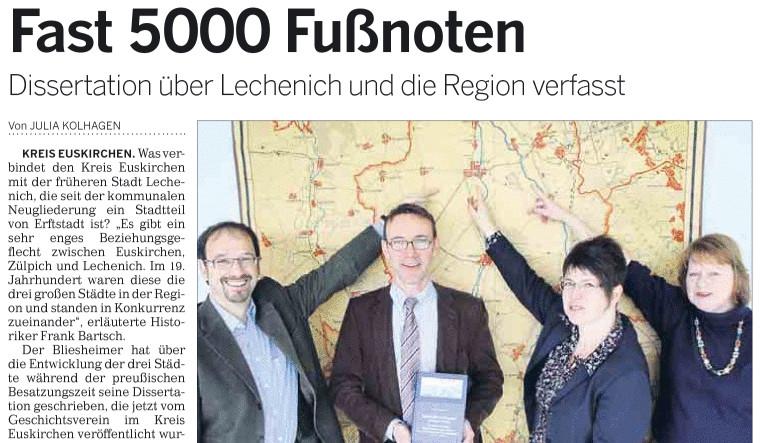 Zeitungsbericht: Dissertation über Lechenich und die Region